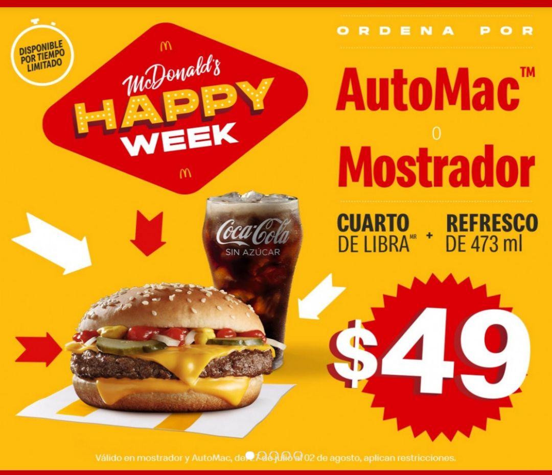 McDonald's: Happy Week Cuarto de libra + Refresco de 473ml.