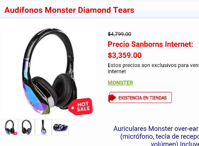 Sanborns en línea: Audífonos Monster Diamond Tears
