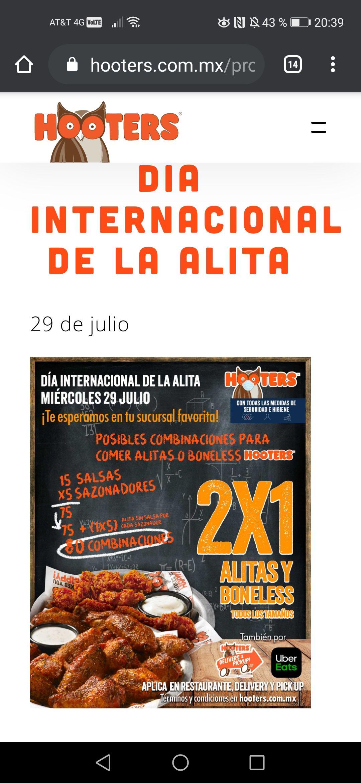 Hooters: Día internacional de la alita 2x1