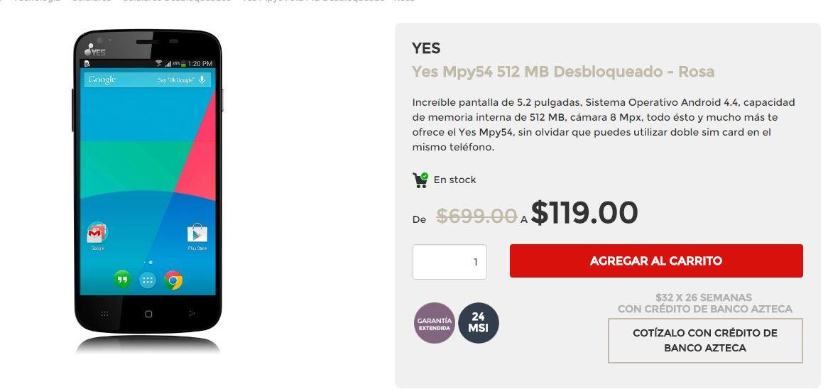 Elektra en línea: smartphone Yes MPY54 Desbloqueado - Color Rosa a $119
