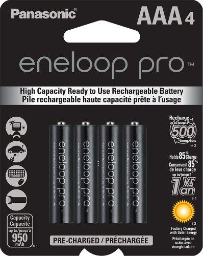 Amazon: Panasonic eneloop pro Nuevas baterías recargables de níquel-metal hidruro, 4 AAA, precargadas, de alta capacidad