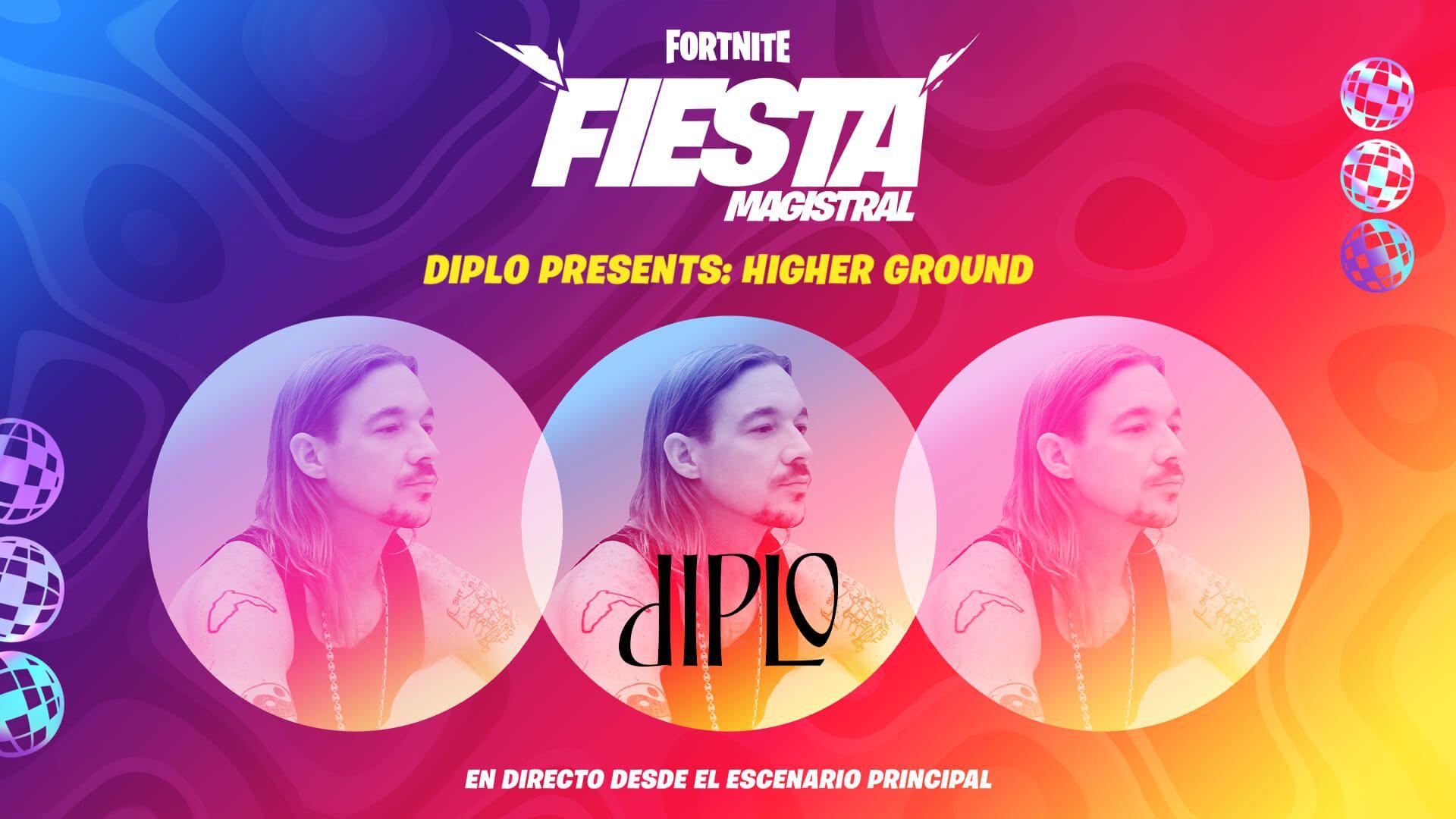 Fortnite: El 31 de Julio unete a la Fiesta Campal Diplo presents: Higher Ground y obten gratis el Domingo 02 agosto camuflaje after party.