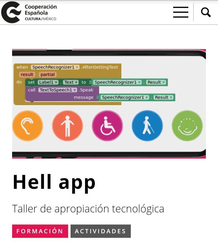 Hell app. Taller de apropiación tecnológica (Centro Cultural de España en México)