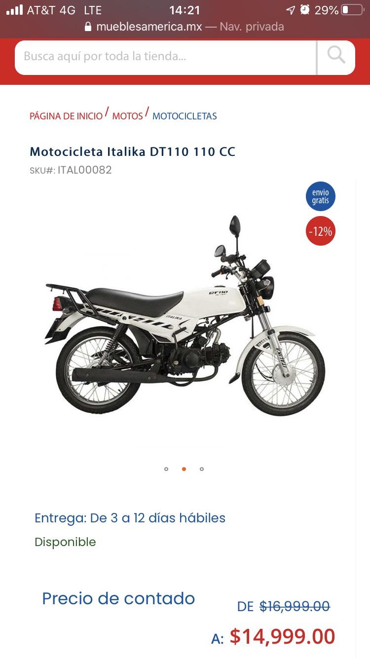 Muebles America Motocicleta Italika DT110