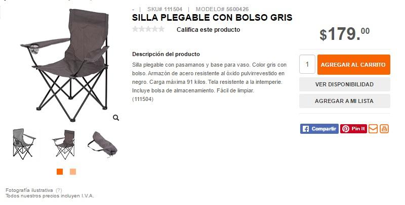 Home Depot en línea: silla plegable con bolsa para transportar