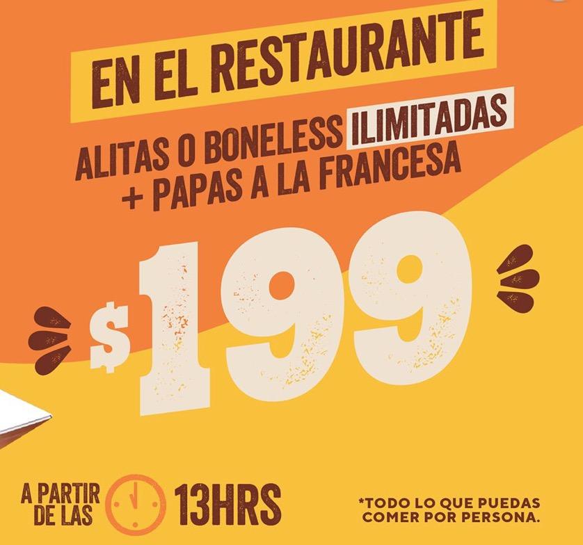 Chili's: Alitas o boneless + papas ilimitadas a $199