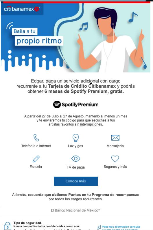6 Meses de Spotify gratis con Citibanamex para usuarios nuevos