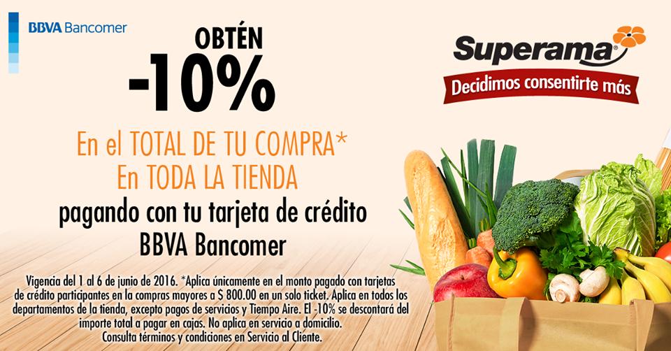 Superama: 10% de descuento en toda la tienda con Bancomer