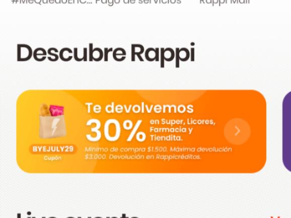 Rappi : 30% cashback de rappicreditos en supermercados farmacia o licores