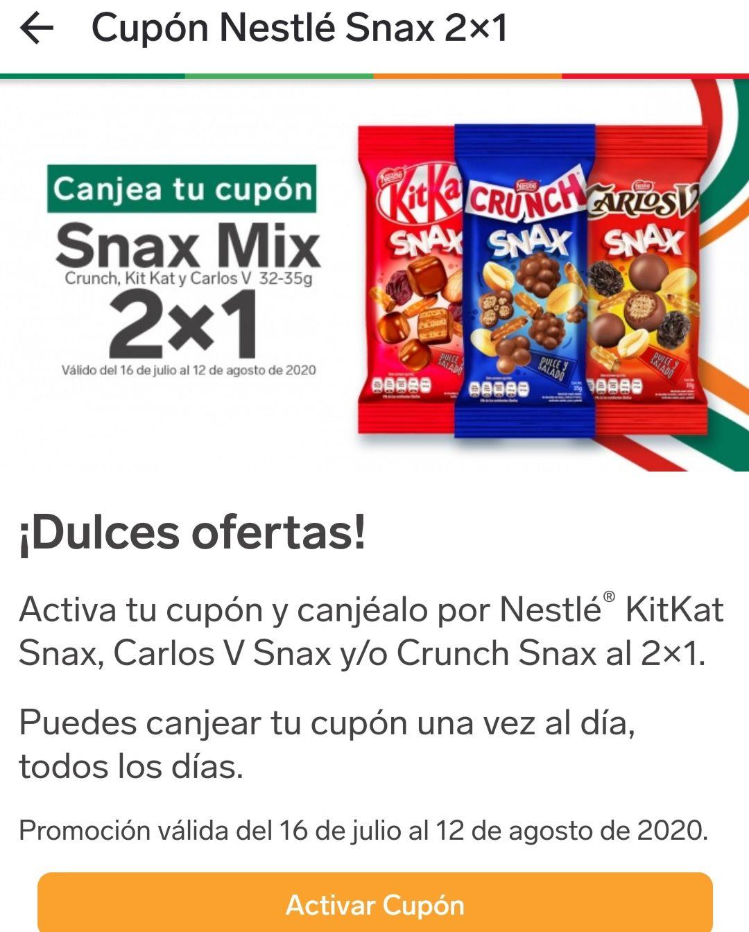 7 Eleven: Nestlé Snax Mix 2x1 Puedes canjear tu cupón una ves al día, todos los días.