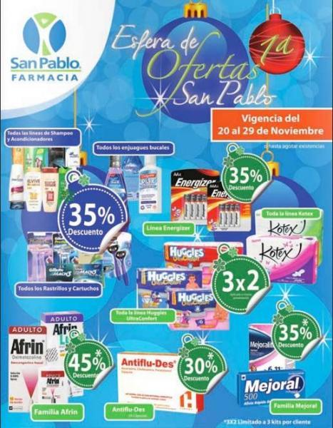 Farmacia San Pablo: 3x2 en Huggies y Kotex, 35% de descuento en shampoos, rastrillos y +
