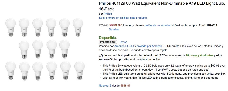 Amazon México: Paquete de 16 Focos LED Phillips de 8.5 w, equivalente a 60Watts. Ahorro de energia, a solo  $32 Aguilas mexicanas por foco aprox.
