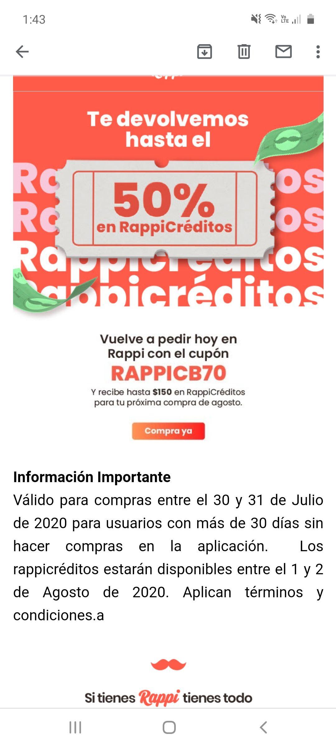 Rappi 50% devolución cashback (usuarios seleccionados)