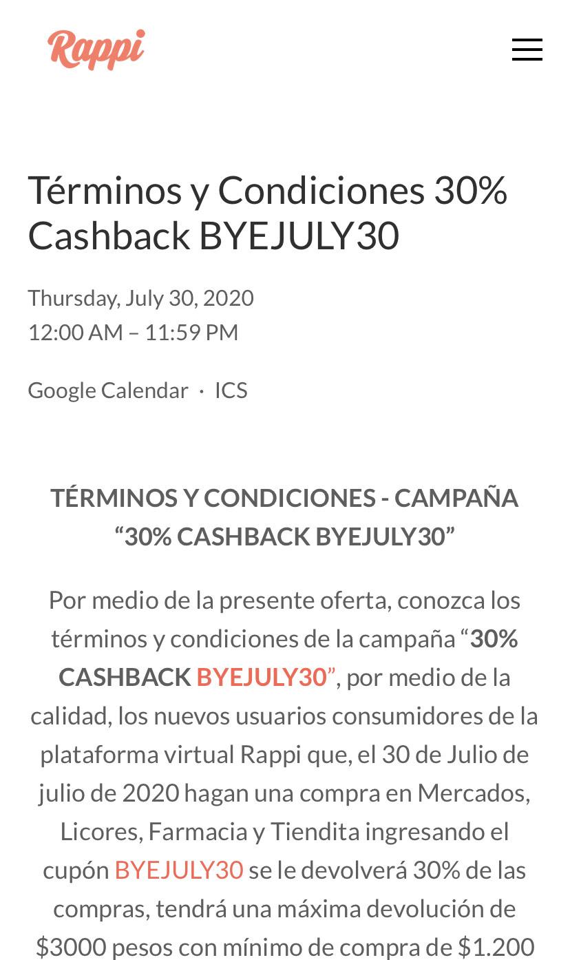 Rappi: 30% Cashback Mercado, Licores, Farmacia y Tiendita