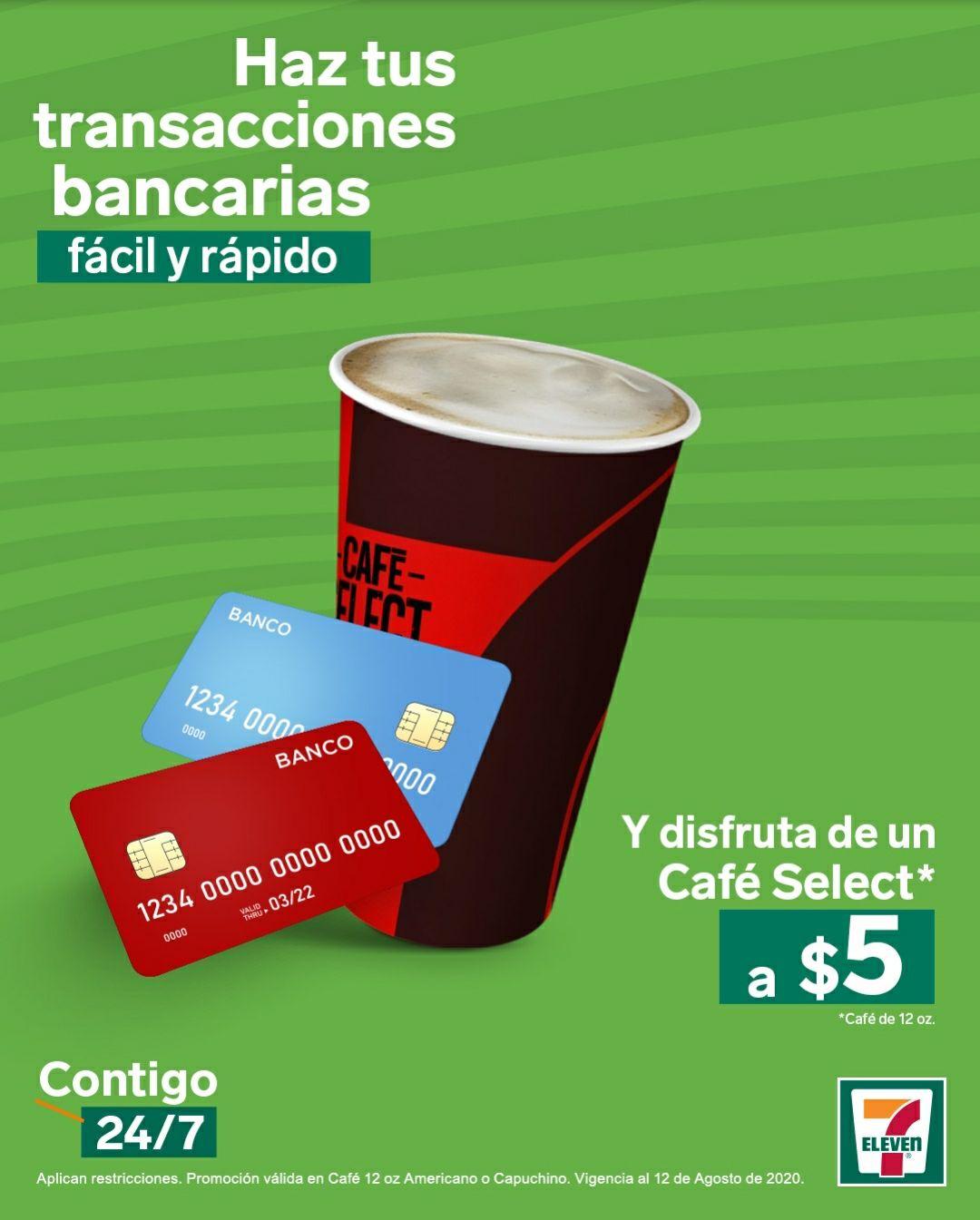 7 Eleven: Realiza un Depósito bancario o paga tu TC y llévate un Café Capuchino o Americano por $5 pesos.