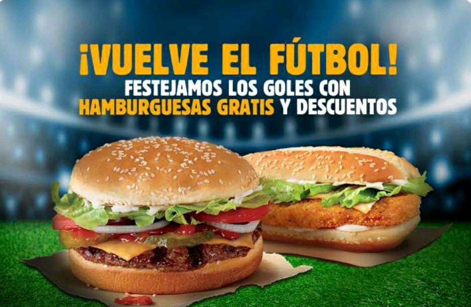 Burger King App: Hamburguesas gratis y cupones de descuento cada vez que tú equipo de fútbol anote un gol.