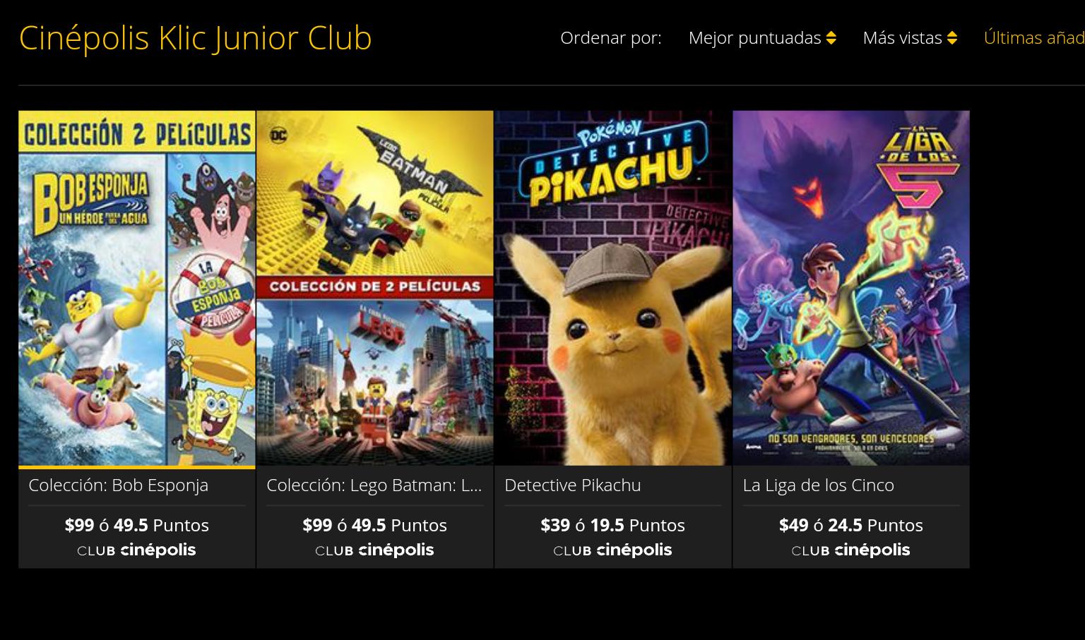 Detective Pikachu a 39 y más Películas en Compra a precio especial en Cinépolis Kilc Junior Club