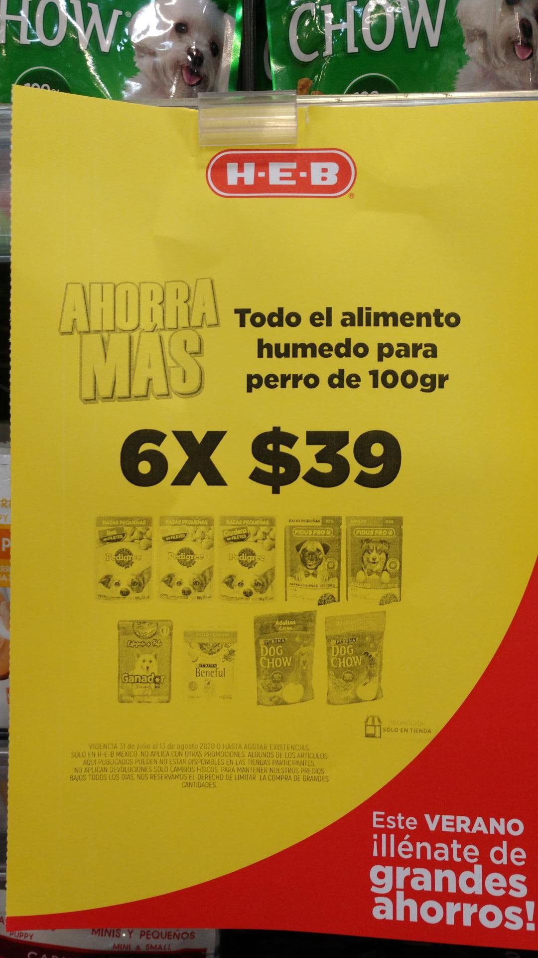variadad de alimento pouch 6x39 en heb a nivel nacional