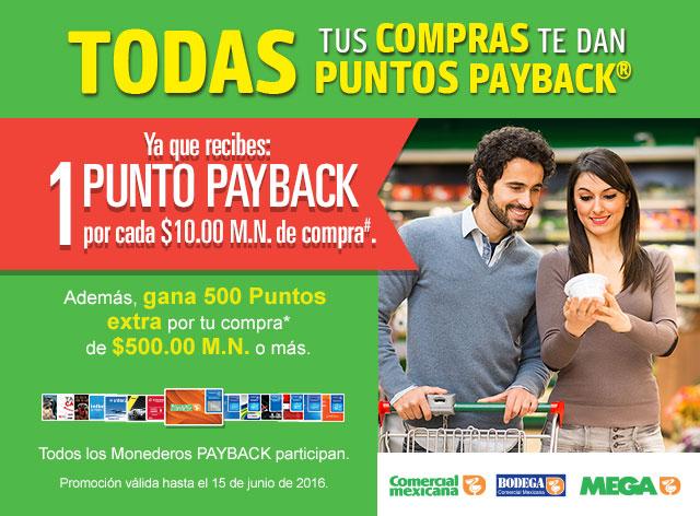Comercial Mexicana: 1 punto por cada $10 de compra + 500 puntos en $500 o más