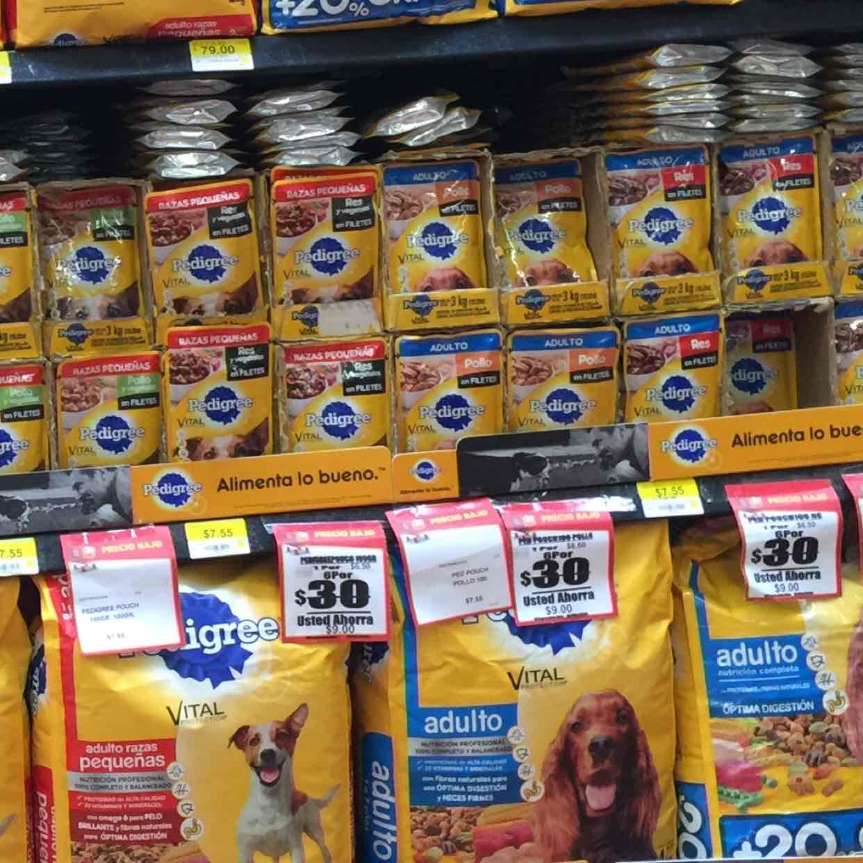 Walmart: Sobres para perro y gato 6x30 (pedigree, dogchow, whiskas y felix)