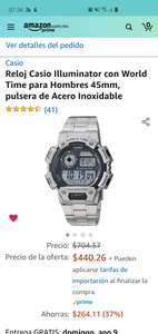 Amazon USA: reloj Casio Illuminator con correa de acero inoxidable, 45 mm