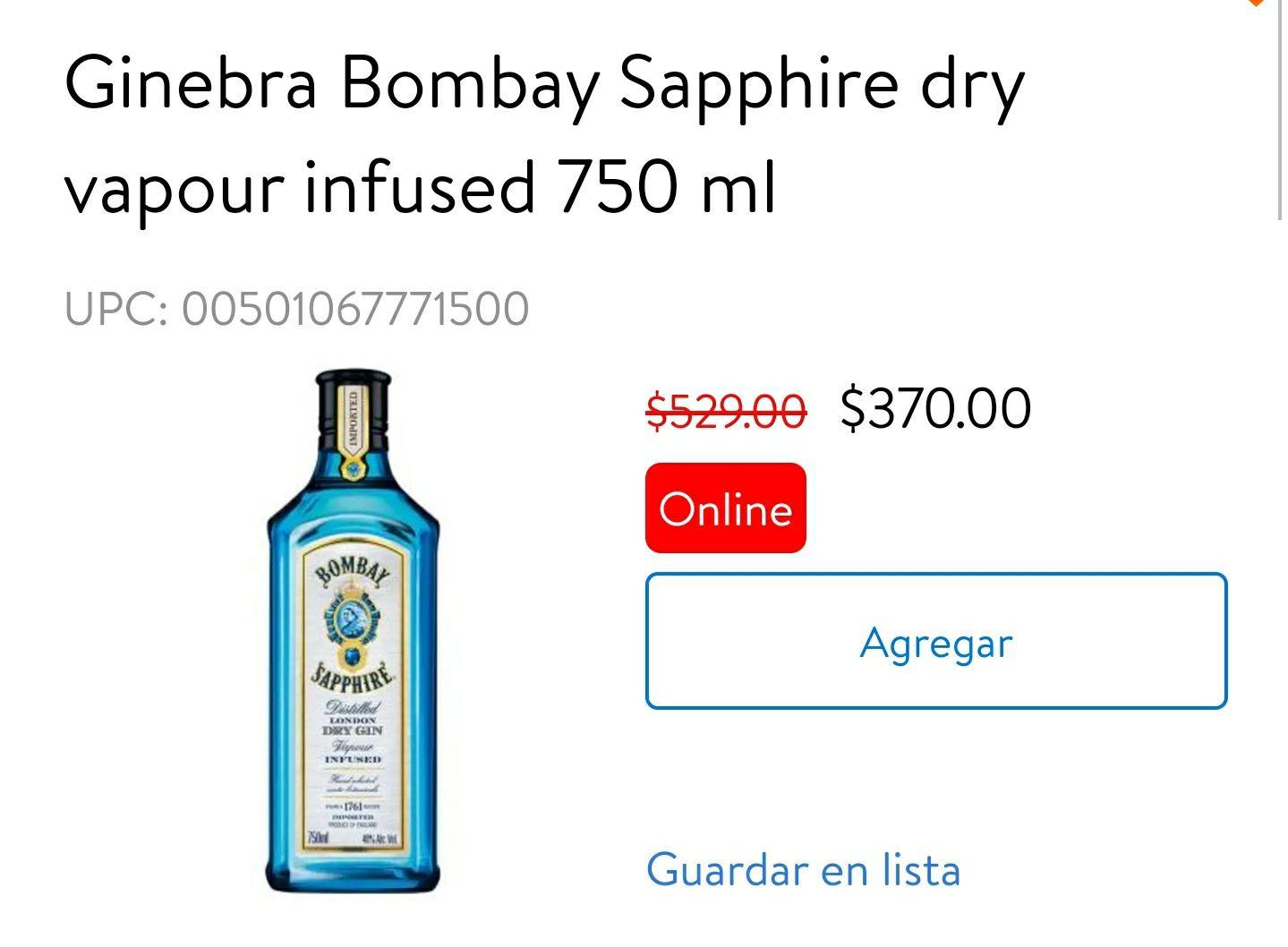 Walmart: Ginebra Bombay Sapphire