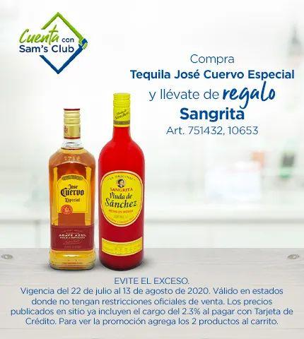 Sam's club:Tequila Jose Cuervo Especial Reposado 990 ml + Sangrita viuda de Sánchez 1l