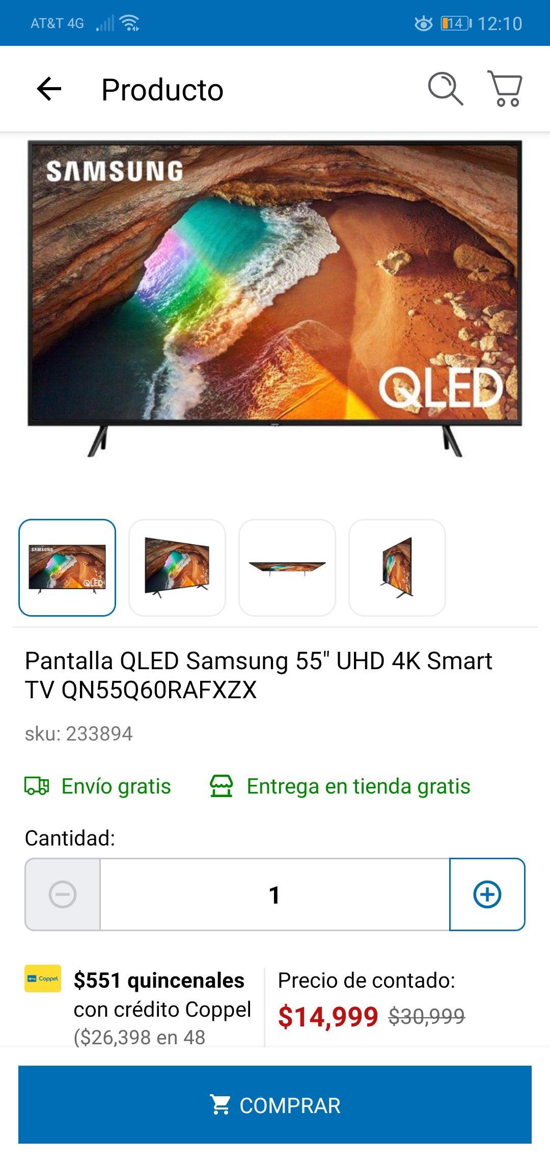 Coppel: Samsung smartv QN55Q60RAFXZX