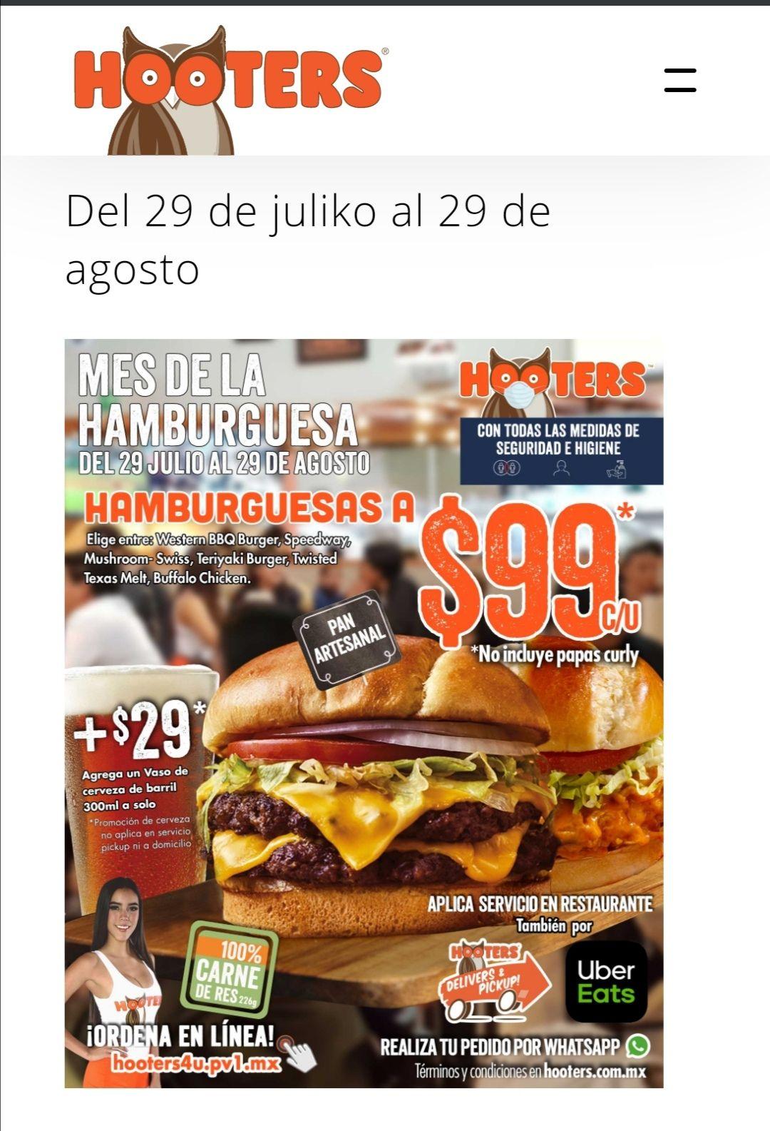 Hooters: Mes de la hamburguesa a solo $99 cada una, servicio a domicilio y en restaurante