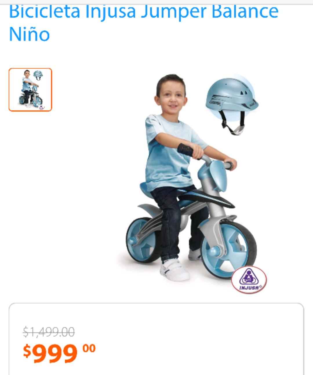 Walmart en línea: bicicleta injusa jumper balance niño a $999