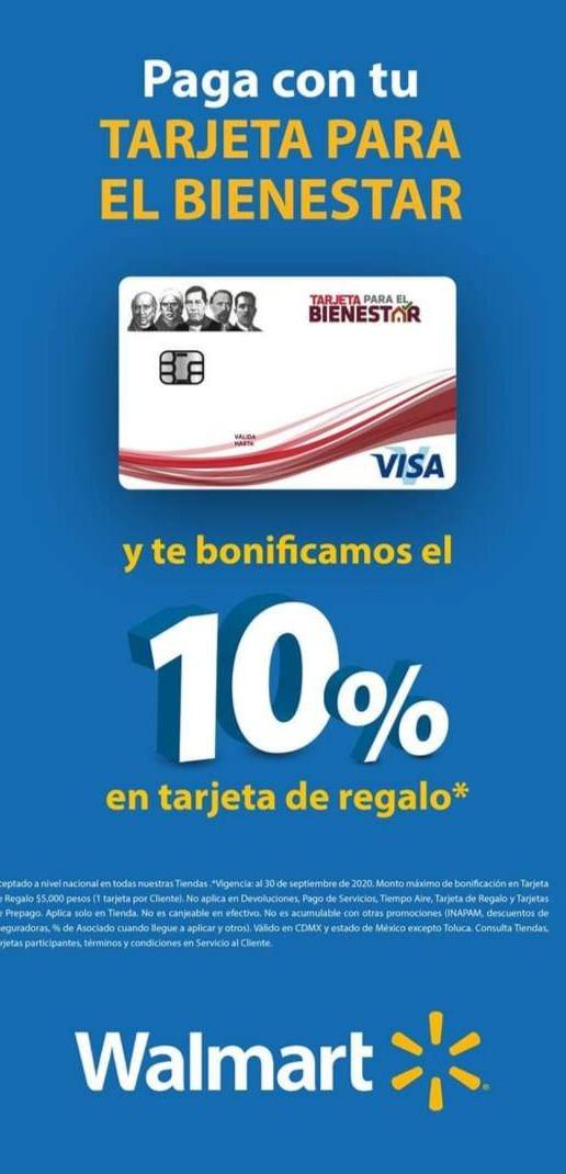 Walmart, Superama y Bodega Aurrerá CDMX y EDOMEX: 10% de bonificación en tarjeta de regalo al pagar con tu Tarjeta Para El Bienestar