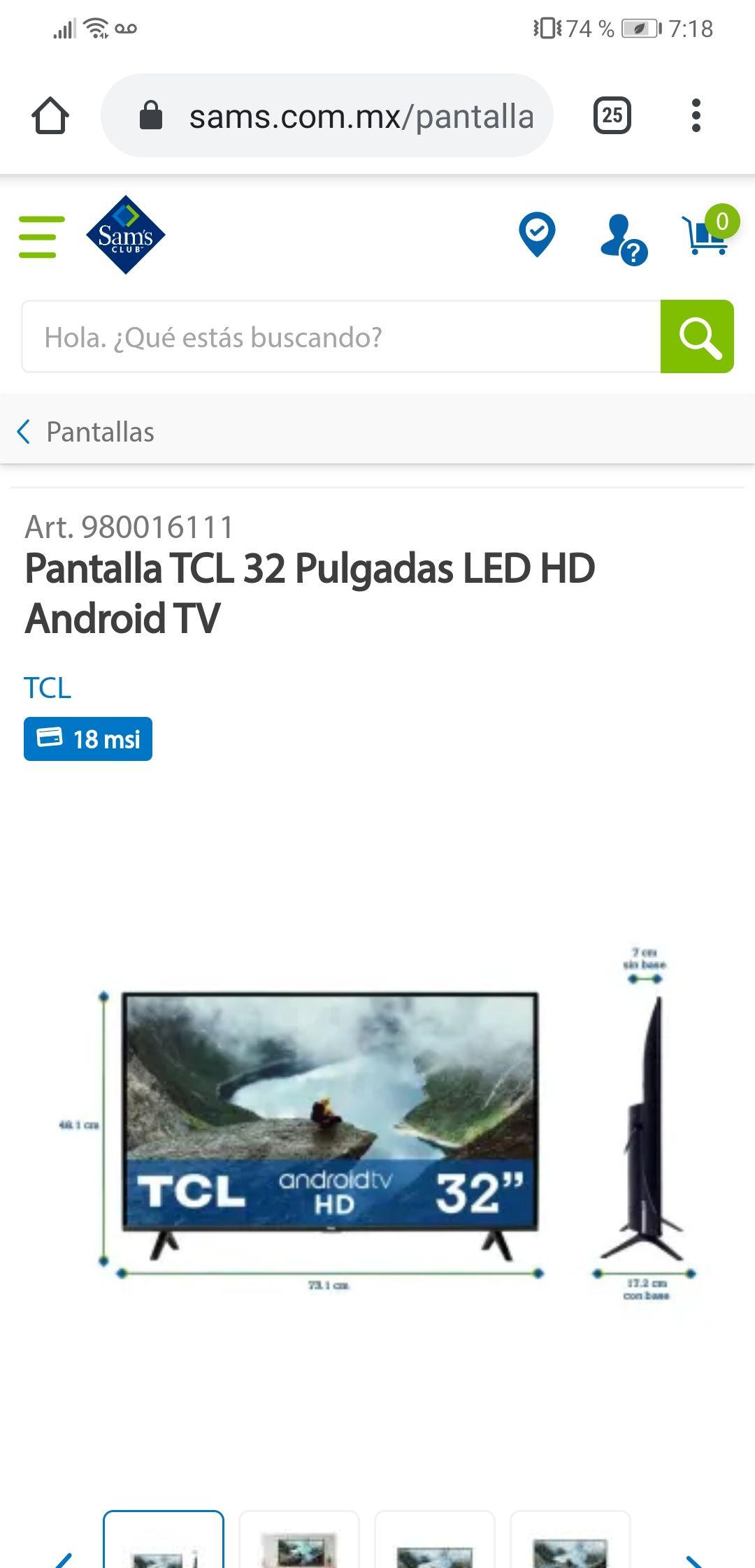 """Sams Club: Pantalla tcl 32"""" android tv"""