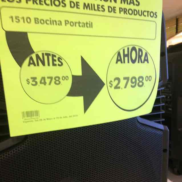 Comercial Mexicana: Bocina Portatil a $2,798