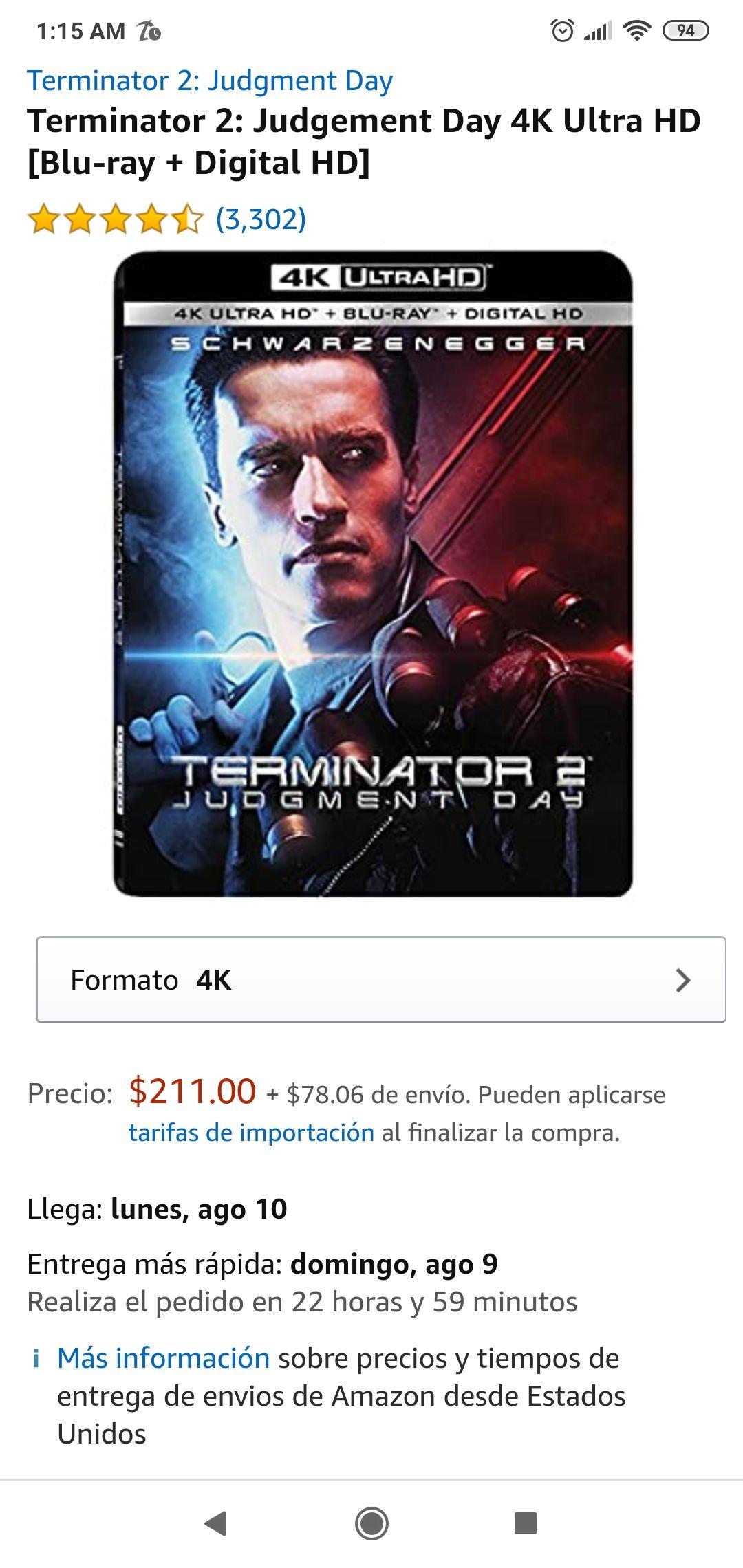 Amazon: Terminator 2: Judgement Day 4K (Blu-ray + Digital HD)