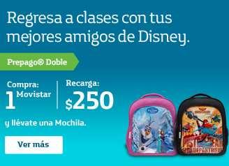 Movistar: mochila de Frozen o Aviones 2 recargando $250