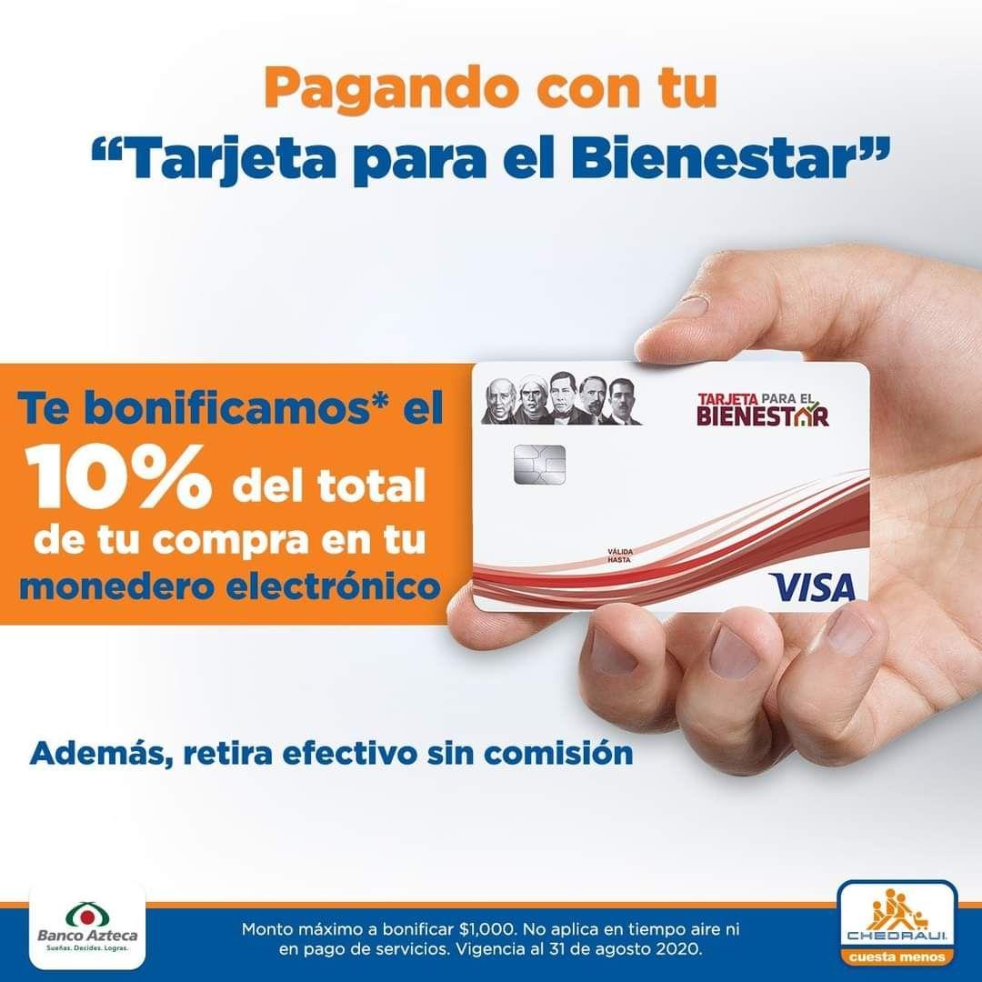 Chedraui: 10% de bonificación con Tarjeta Para El Bienestar... $10 de bonificación por cada $100 con tarjeta Mi Beca para Empezar