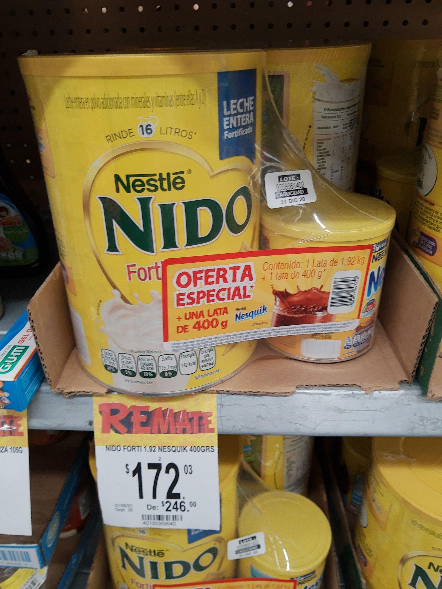 Bodega Aurrera: Leche nido 1.92 Kg + nesquick 400 gr