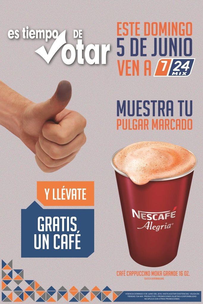 7/24 Mix: café gratis mostrando pulgar con marca de voto (Puebla y Veracruz)