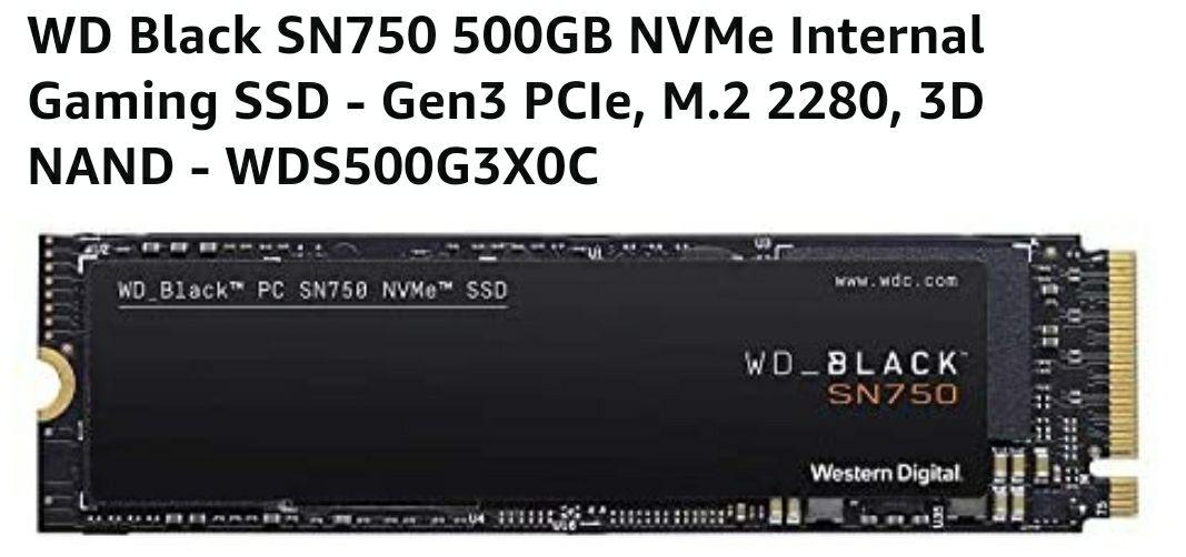 Amazon: WESTERN DIGITAL BLACK 500GB M.2 PCI Express 3.0