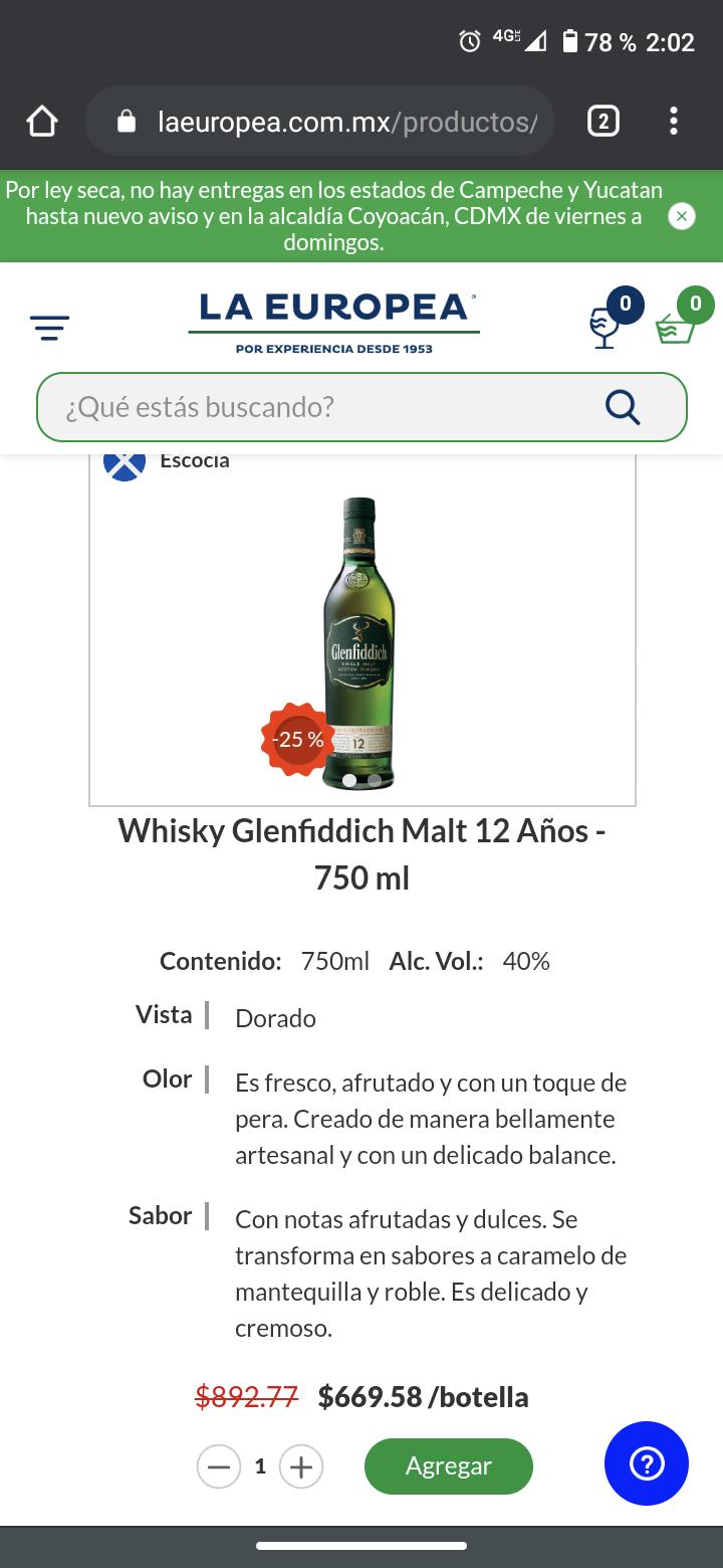 La Europea: Whisky Single Malt Glenfiddich 12 con 25% descuento