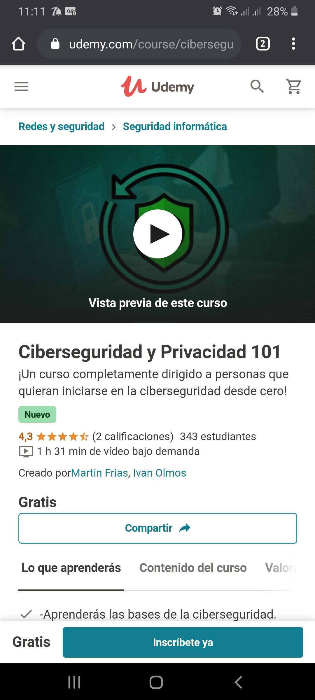 Udemy: Ciberseguridad y Privacidad 101
