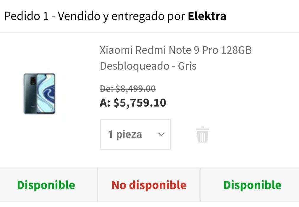 Elektra: Redmi note 9 pro 128 (con crédito Elektra)