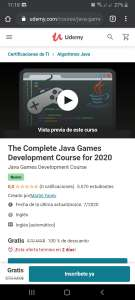 Udemy en ingles: The Complete Java Games Development Course for 2020