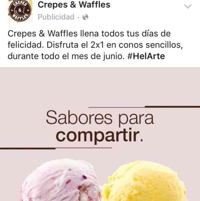 Crepes & Waffles: 2x1 en helados sencillos todo el mes de Junio