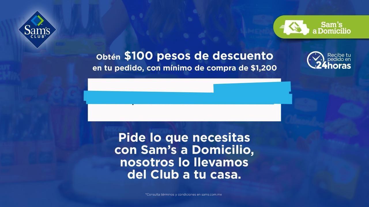 Sam's Club en línea: obtén un cupón para $100 de descuento o envío gratis en compras mayores a $1200
