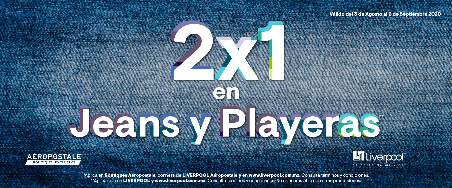 Aeropostale: 2x1 en Jeans y Playeras