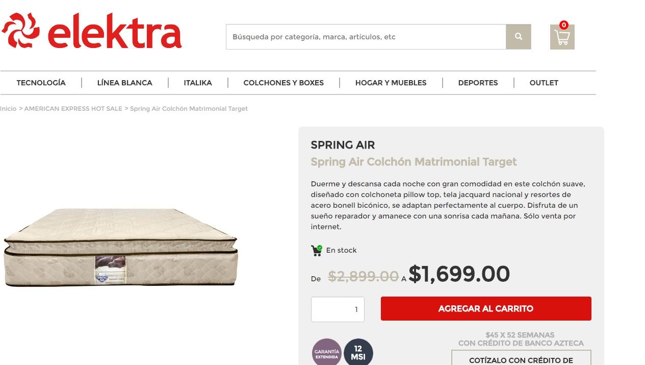 Elektra en línea: colchón matrimonial a buen precio, Spring Air Target a $1,699