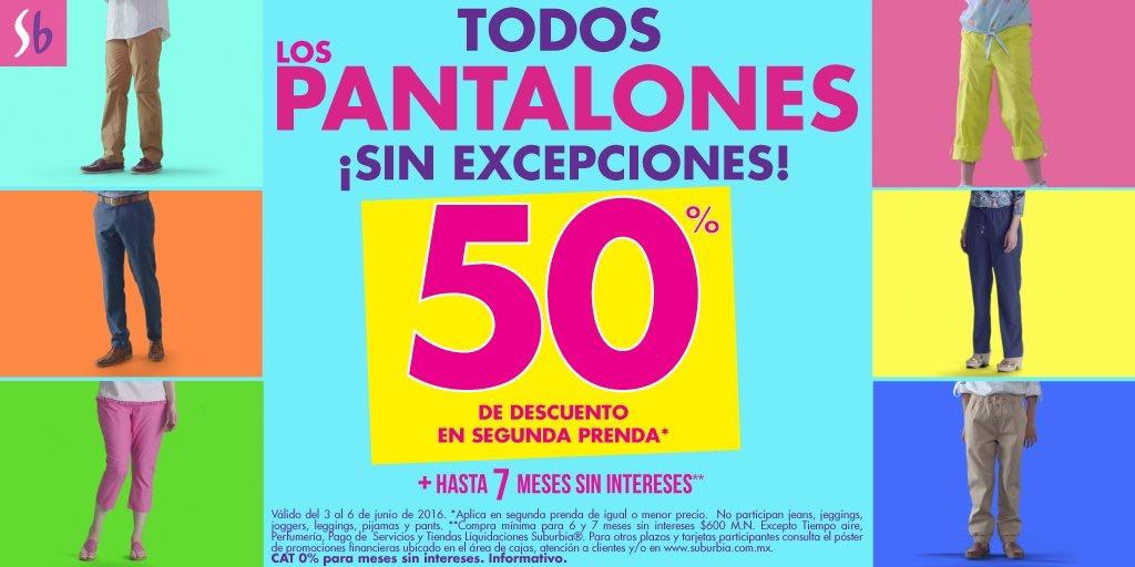 Suburbia: pantalones 2 segunda prenda hasta 50% de descuento y hasta 7 mensualidades sin intereses