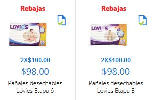 Walmart en línea: 2 paquetes de pañales Lovies x $100 (regular $196)