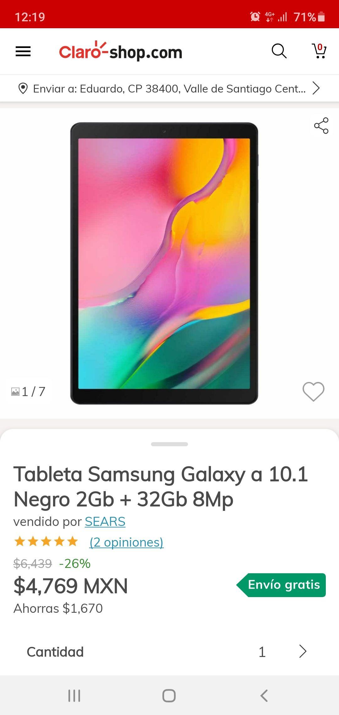 Claroshop: Tablet galaxy tab a 10.1 32gb y 2 de ram.